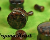 """Mahogany Obsidian Double Flare Plugs 8g-1"""" (Sold as Pair) Handmade Jewelry (8g, 6g, 4g, 2g, 0g, 00g, 7/16"""", 1/2"""", 9/16"""", 5/8"""", 3/4"""",7/8"""",1"""")"""