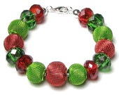 Bright Red And Green Silver Finish Beaded Holiday Charm Bracelet, Interchangeable Beads, Christmas Gift, Women, Modern Chunky Style Jewelry