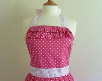 Retro apron with ruffles, White Polka Dots on pink fabric. 1950s inspired, fully lined.