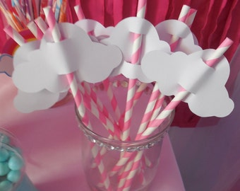 Paper CLOUDS for straws - Set of 10.  Pick your color.