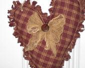 Primitive Rag Heart Hanging - Maroon Homespun Fabric - Love - Valentine's Day - Wedding - Anniversary