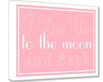 Framed canvas print I love you to the moon and back PINK quote we're simply meant to be. Sally and Jack Skellington wall art signs plaque