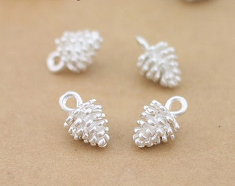 Lead free-clearance-100 pcs fabulous silver pine cone charms-F705