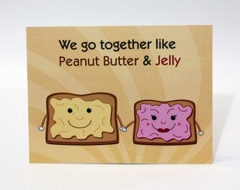 Funny Valentine's Day Card - Peanut Butter and Jelly, Cute Valentine's day Card, Valentine Pun