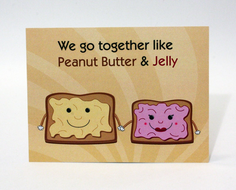 Funny Valentines Day Card Peanut Butter and Jelly Cute – Cute Valentines Day Card