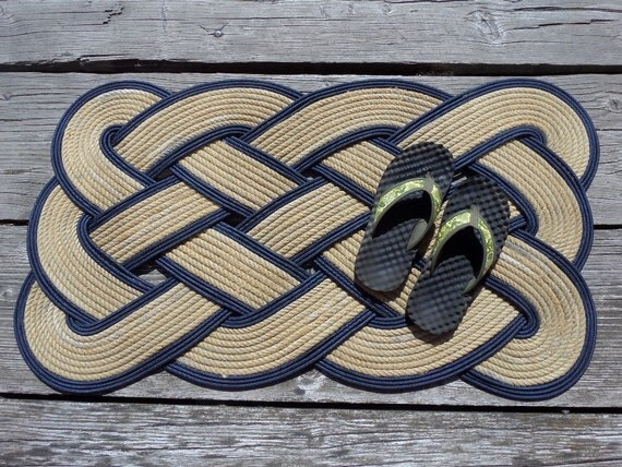 """38"""" x 20"""" Rope Doormat Rug Natural and Navy Tightly Woven Recycled Rope Made in USA Alaska"""