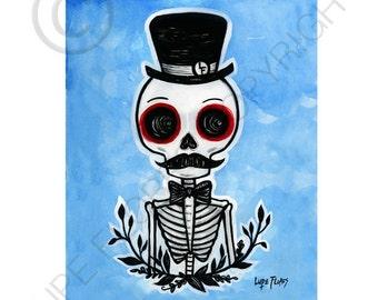 Top Hat Skeleton 8x10 ART PRINT