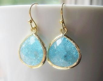 Aqua Drop Earrings / Bridesmaids / Glass Dangle / Teardrop / Bridal / Wedding / Sea Glass / 14K Gold Filled Wire / Bridesmaids / Gold