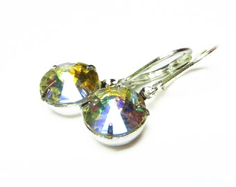 DANGLE Iridescent Vintage Style Clear Glass Round Earrings