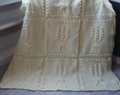 Cream Nosegay Crochet Afghan Ready to Ship
