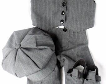 4 Piece Grey Pin Stripe Infant Child Baby Vest Suit Cap Hat Pants Booties Shoes