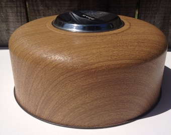 Vintage Cake Cover Kromex Brown Faux Bois Wood Grain Dome - #3805