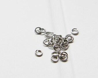 100pcs / Matte White Gold / Jump Rings / Brass Base / Ring / 4mm  (C327//I9)