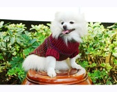 Burgundy Maroon Dog Sweater XXS Crochet Cotton Puppies Clothes Pets Clothing Chihuahua DK835 Myknitt - Free Shipping