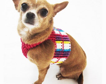 Houndstooth Dog Harness Vest Pet Clothing Collars and Leashes Colorful Plaid Handmade Crochet DH30 by Myknitt - Free Shipping