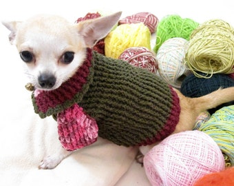 Strawberry Dog Clothes Turtle Neck Sweater Knit Pink By