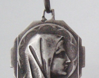 """Virgin Mary Vintage Sterling Religious Medal Pendant on 18"""" sterling silver rolo chain"""