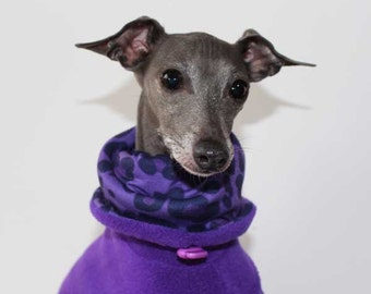 SHADEDMOON DESIGN - Italian Greyhound Limited Edition - Purple  Jammies with purple leopard lined Snood/Neck Warmer
