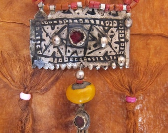Berber Resin & Red Coral Beads with Amulet Niello Old Glass Morrocan Sahara