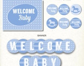 INSTANT DOWNLOAD Blue Rocking Horse Modern Boy Baby Shower Party Printable Kit