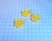 3 Flat Back Flowers,  Acrylic Flowers, Yellow