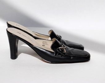 Leather Anne Klein Loafer Mules Size 8.5