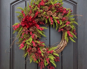 Christmas Wreath-Winter Wreath-Holiday Door Decor-Cabin-Rustic-Holiday Season-Red Hydrangea-Pine Moss