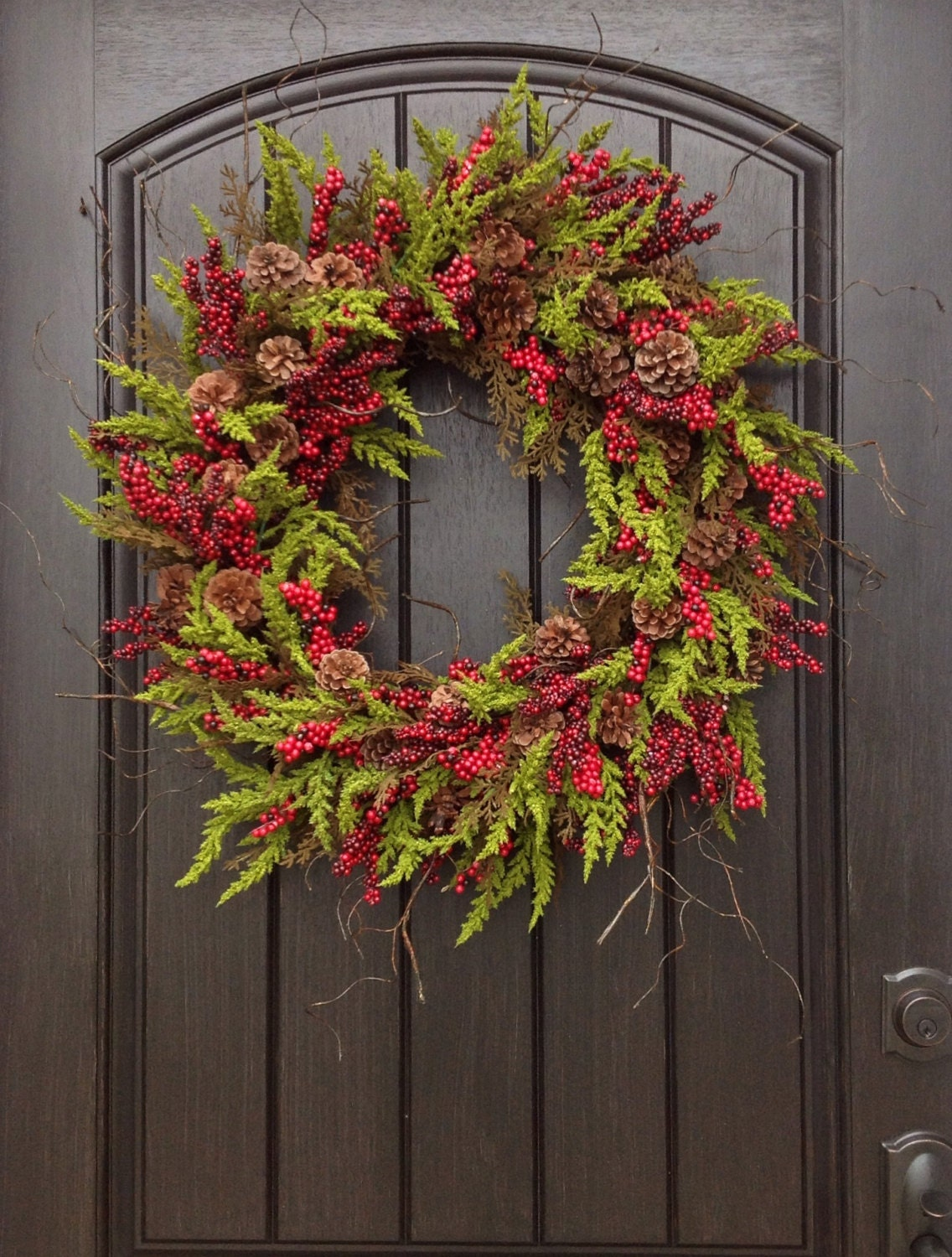 christmas wreath winter wreath holiday door by anextraordinarygift. Black Bedroom Furniture Sets. Home Design Ideas