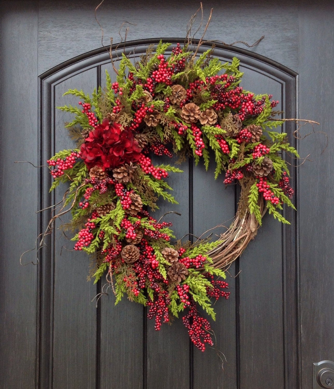 Christmas wreath winter wreath holiday door for Door garland christmas
