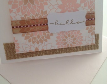 A Soft and Romantic Hello with Pale Pink And Tan Flowers with ivory beads, sheer ribbon and a hint of burlap - note cards - birthday