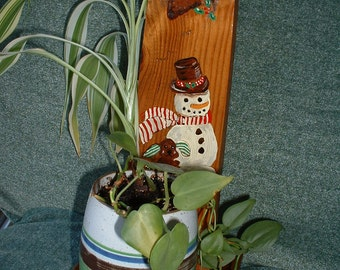 Vintage Plant Stand, Handmade, Hand painted, Wood, Snowman, Christmas, Clearance Sale