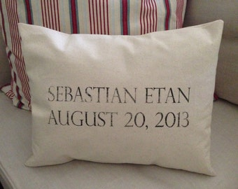 Custom Name and Date  Pillow with Insert