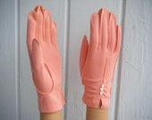 Ladies Salmon Pink Cotton Rayon Dress Formal Party Gloves