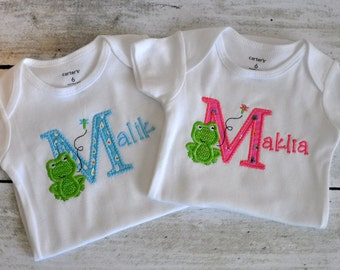Personalized Frog T Shirt or One Piece Bodysuit