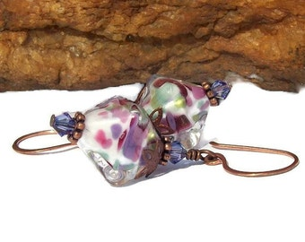 Gorgeous Artisan Lampwork Dangle Earrings - Multi Colored Pink, Lavender, light green