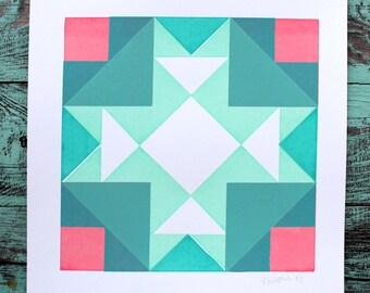 SALE- Colorful Geometric Pattern Screen Print