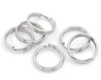 7mm Split Rings : 100 Antique Silver Split Rings - Double Loop Jump Rings 7mm Diameter -- Lead, Nickel, & Cadmium free  7/1.100