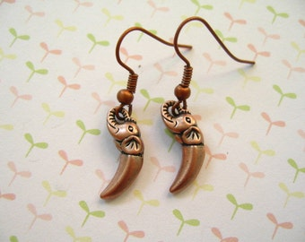 Elephant Earrings, Red Copper Tibetan Elephant Pendant, Elephant Jewelry, Animal Earrings, Animal Jewlery