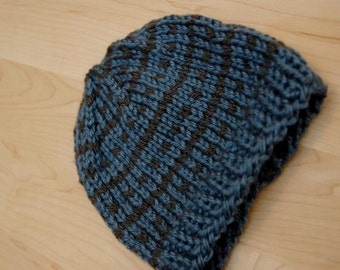 Hand knit Blue and Gray Baby Beanie, Stripes and Dots
