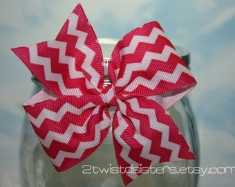 Hot Pink and White Chevron Print Bow