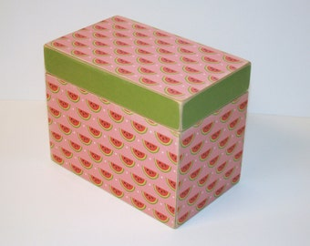 READY TO SHIP Recipe Box - Watermelon Pink and Red Print Handmade 4x6 Wooden Recipe Box Address File Wedding Guest Book Box