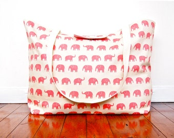 Extra-Large Beach Tote Bag / Nappy Diaper Bag with Built-in Wet Bag Pocket - Pink Elephants (Made to Order)