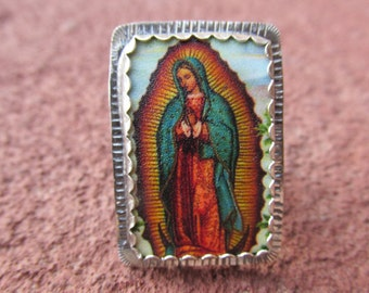 Our Lady of Guadalupe #2 Cocktail Ring Sterling Silver and Shrinky Dink Shrink Plastic Catholic Religious Kitsch Jewelry