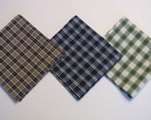 Mens Handkerchief set, Variety set of 3,  1 each:  blue, brown, and green plaid, soft  cotton fabric, pocket squares,  Handmade - FabricCreationsFran