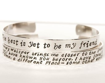 Woman's Wide sterling silver cuff, 8mm wide silver cuff, personalized silver cuff, outside message cuff, hand stamped message cuff