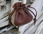 Men's Leather Drawstring Pouch Bag - Man Bag - Brown - Crystals - Stones - Native American Medicine Pouch - Made in the USA