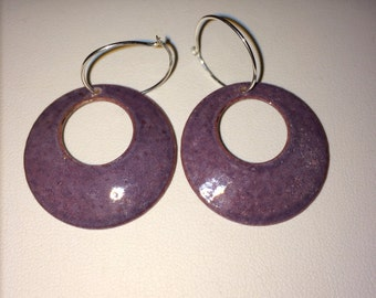 Handmade Jewelry enameled round circle earrings lilac purple light plum
