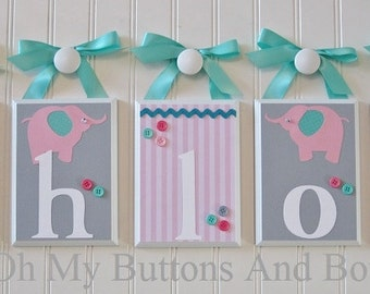 Name Letters . Nursery Wall Decor . Wall Letters . Baby Name Blocks . Hanging Wood Name Blocks . Elephants . Tiffany Blue . Pink . Gray