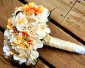 Orange Gold Ivory Brooch Bouquet with FREE toss bridesmaid bouquet