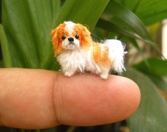 Miniature Japanese Chin - Tiny Crochet Tiny Dog Stuffed Animals - Made To Order
